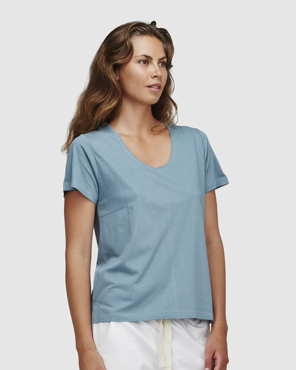 shop ethical sustainable & ethical clothing by Cloth & Co. Classic V Neck Tee | Arctic