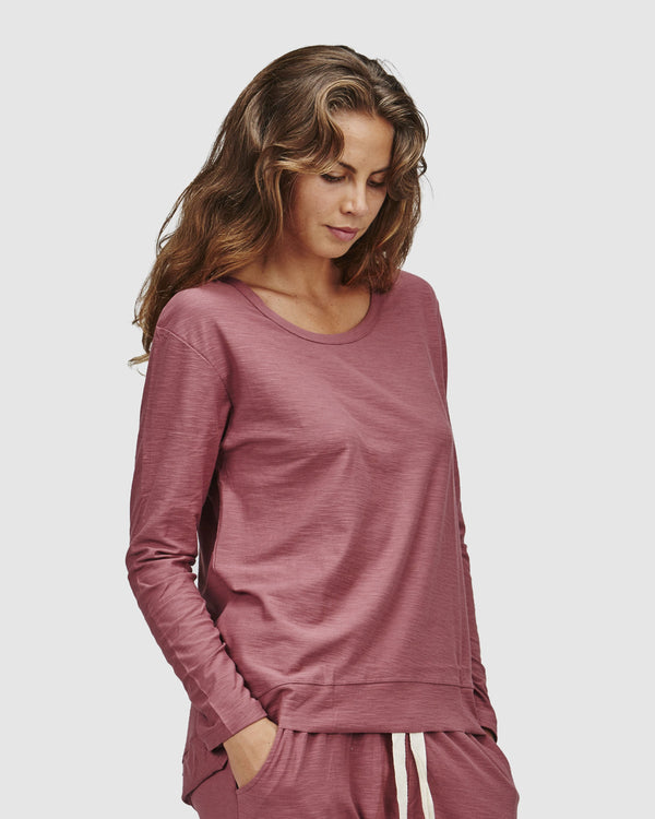 shop ethical sustainable & ethical clothing by Cloth & Co. Slub Long Sleeve Top | Marsala