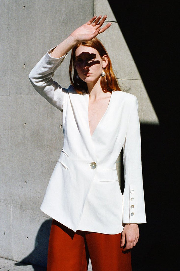 shop ethical sustainable & ethical clothing by CEDAR & ONYX Icer White Blazer