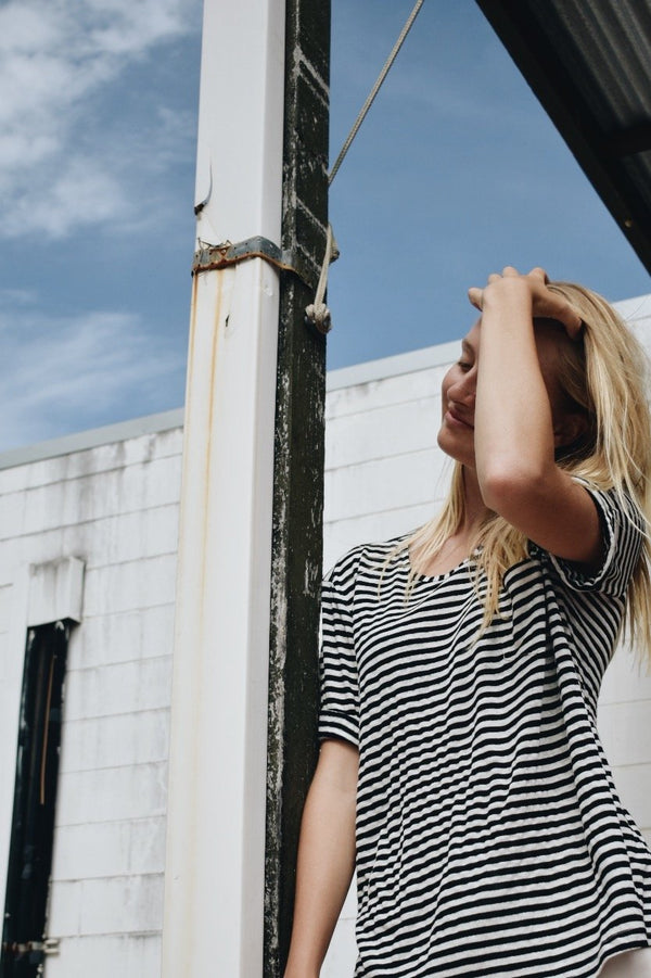 shop ethical sustainable & ethical clothing by UNCLE may ELLA striped crew neck tee