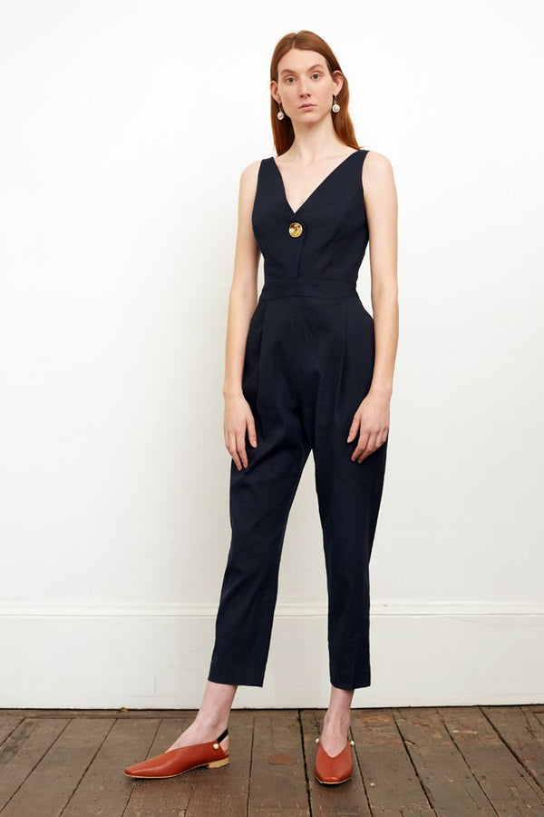shop ethical sustainable & ethical clothing by CEDAR & ONYX Neve Navy Jumpsuit