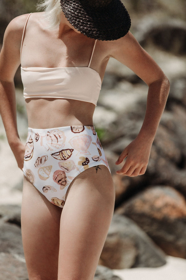 shop ethical sustainable & ethical clothing by CLEONIE FESTA SEASHELL HIGH BRIEF