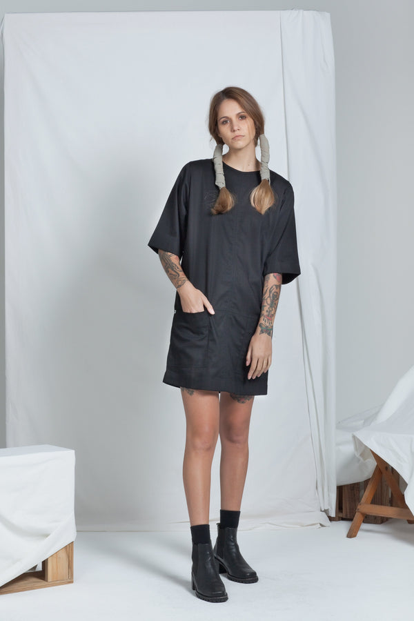 shop ethical sustainable & ethical clothing by ReCreate Clothing Block Dress | Black Denim