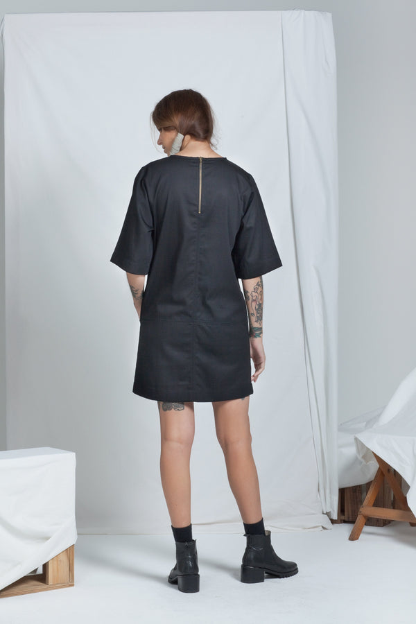shop ethical sustainable & ethical clothing by RECREATE Block Dress | Black Denim