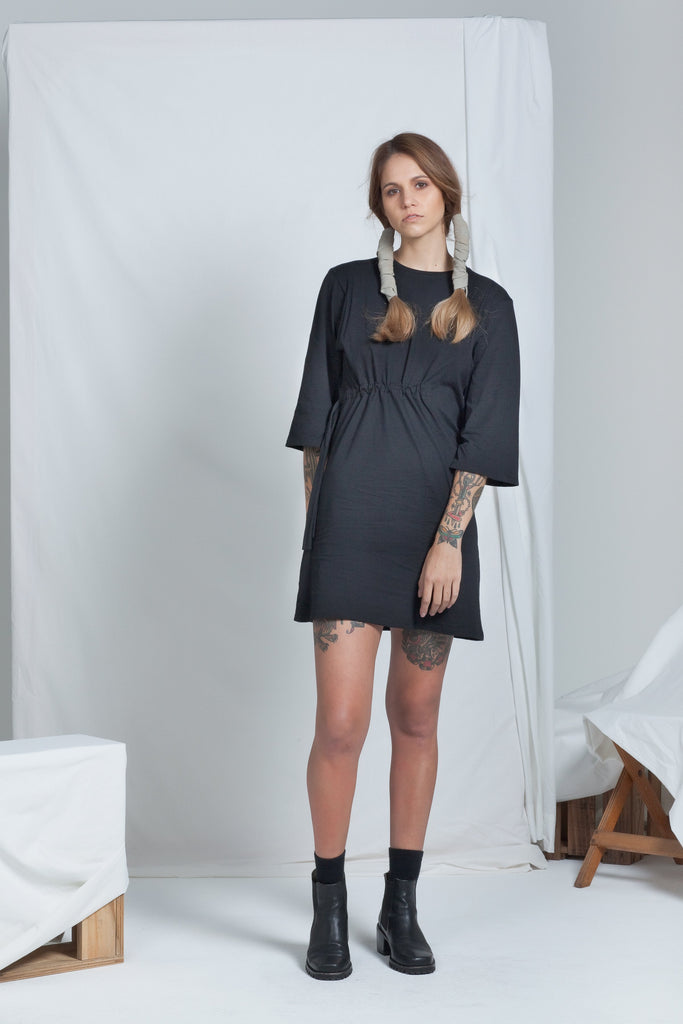 shop ethical sustainable & ethical clothing by ReCreate Clothing Cinch Dress | Black