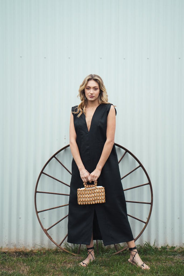 shop ethical sustainable & ethical clothing by Indecisive the label Linen Agnes Dress Black