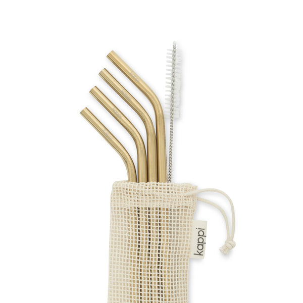 shop ethical sustainable & ethical clothing by Kappi Gold Stainless Steel Straws - Bent 4-pack