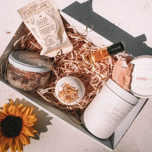 shop ethical sustainable & ethical clothing by Byron Bay Bath Bombs Self love gift box