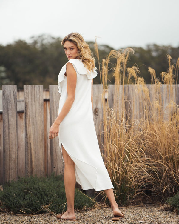 shop ethical sustainable & ethical clothing by Indecisive the label Surplus Bamber Dress White Stripe