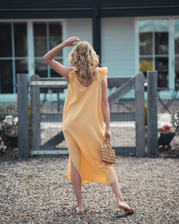 shop ethical sustainable & ethical clothing by Indecisive the label Linen Bessie Dress Yellow