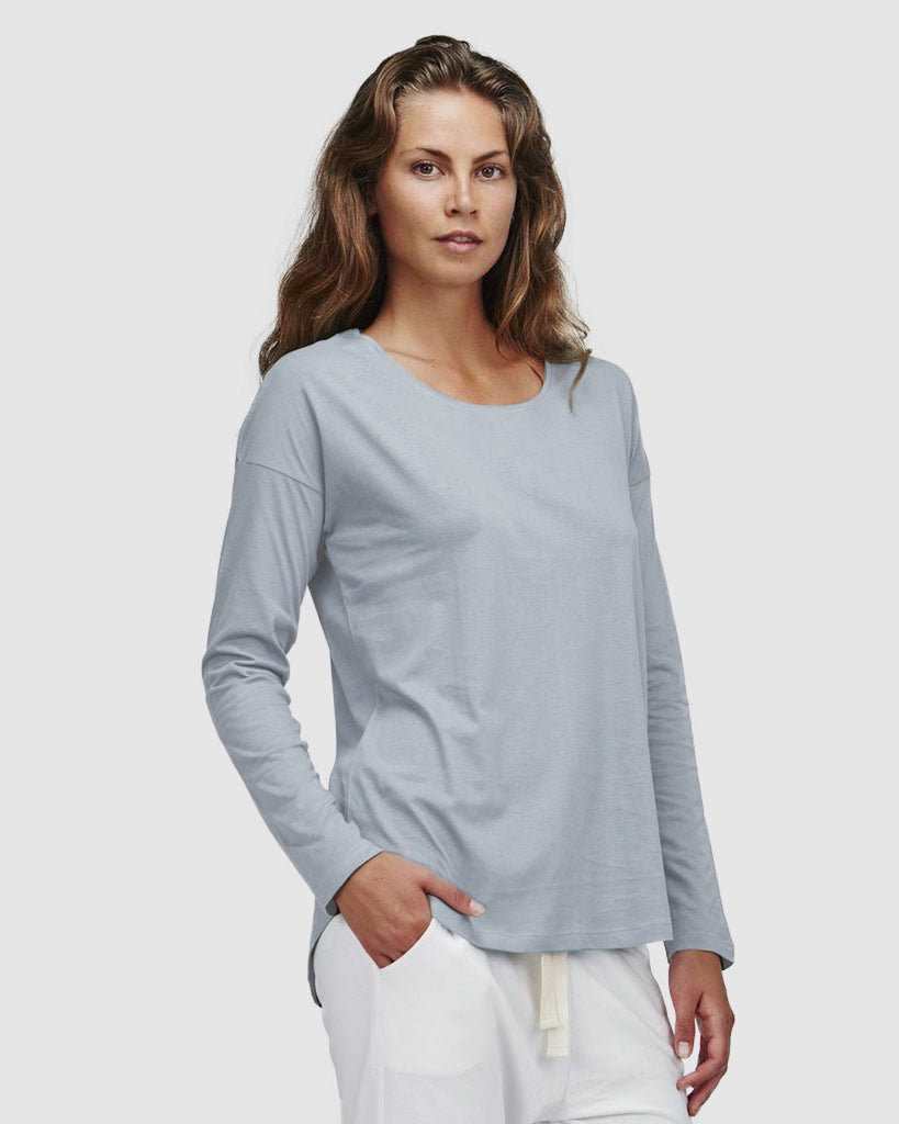 shop ethical sustainable & ethical clothing by Cloth & Co. Crew Neck Long Sleeve | Perriwinkle