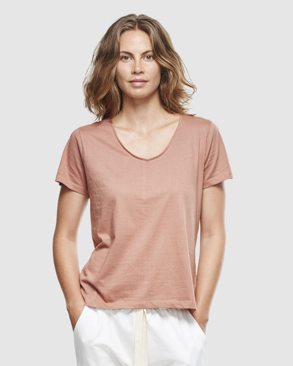 shop ethical sustainable & ethical clothing by Cloth & Co. Classic V Neck Tee | Cedar