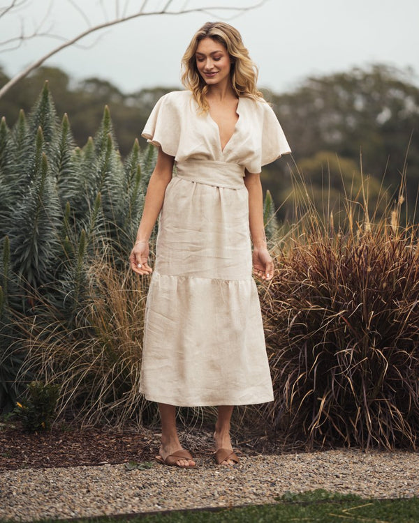 shop ethical sustainable & ethical clothing by Indecisive the label Linen Chicago Dress Sand