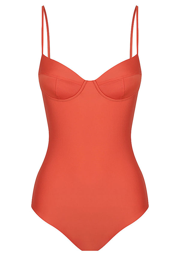 shop ethical sustainable & ethical clothing by Baythe Swim Clay Balconette One Piece Swimsuit