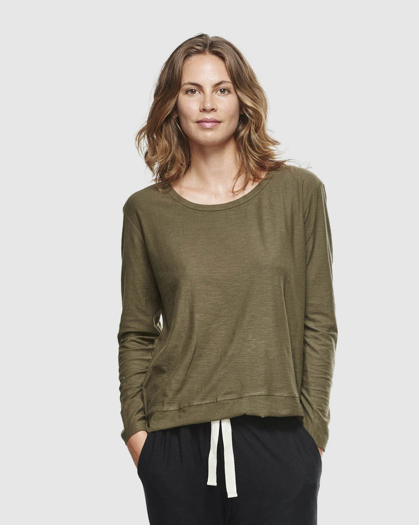 shop ethical sustainable & ethical clothing by Cloth & Co. Slub Long Sleeve Top | Olive