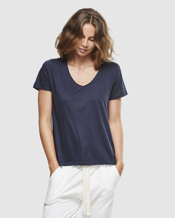 shop ethical sustainable & ethical clothing by Cloth & Co. Classic V Neck Tee | French Navy