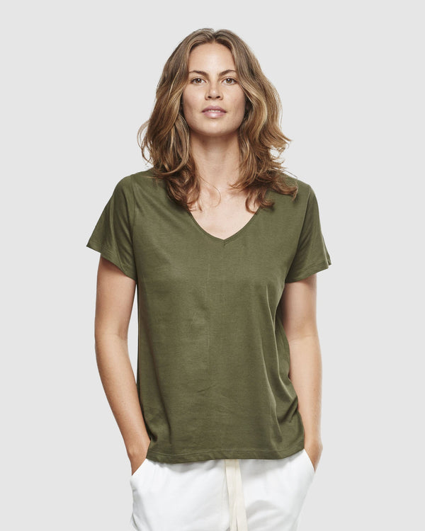 shop ethical sustainable & ethical clothing by Cloth & Co. Classic V Neck Tee | Olive