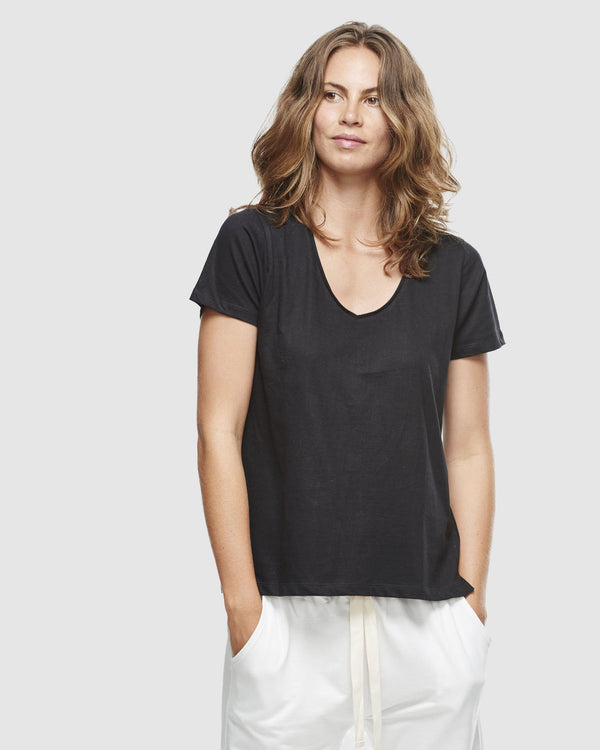shop ethical sustainable & ethical clothing by Cloth & Co. Classic V Neck Tee | Black