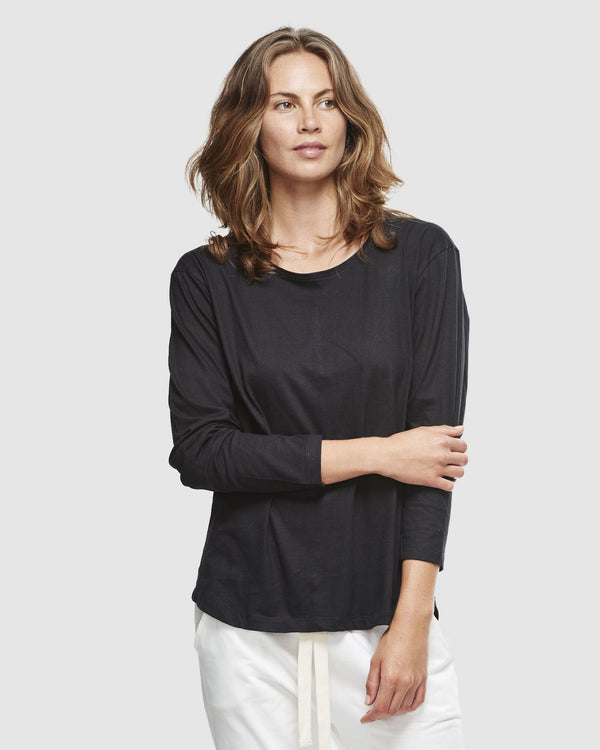 shop ethical sustainable & ethical clothing by Cloth & Co. Crew Neck Long Sleeve | Black