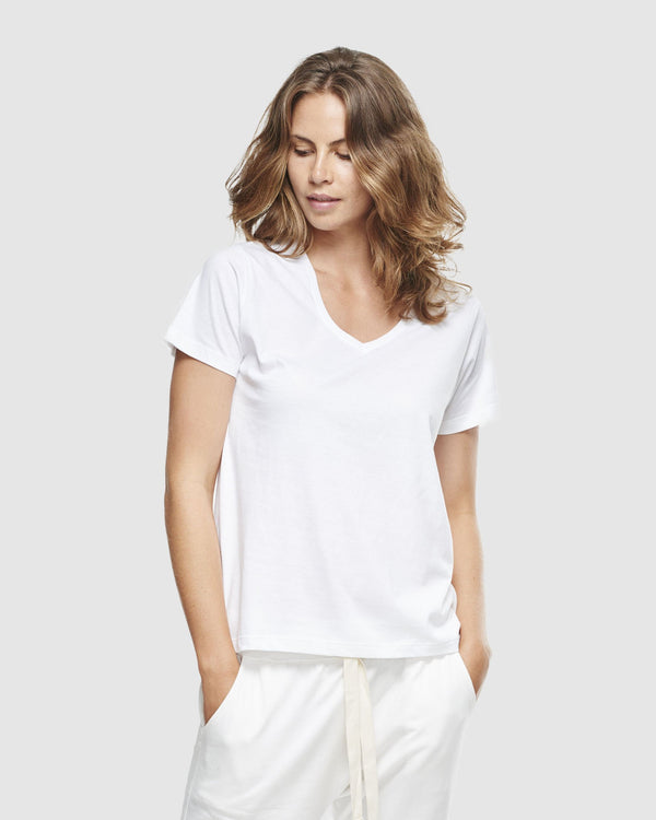 shop ethical sustainable & ethical clothing by Cloth & Co. Classic V Neck Tee | White