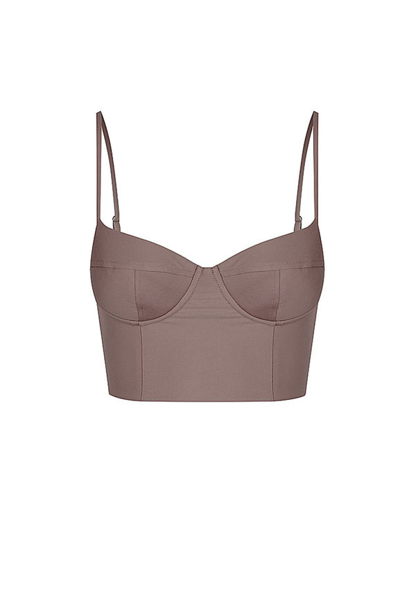 shop ethical sustainable & ethical clothing by Baythe Swim Cocoa Balconette Longline Bikini Crop