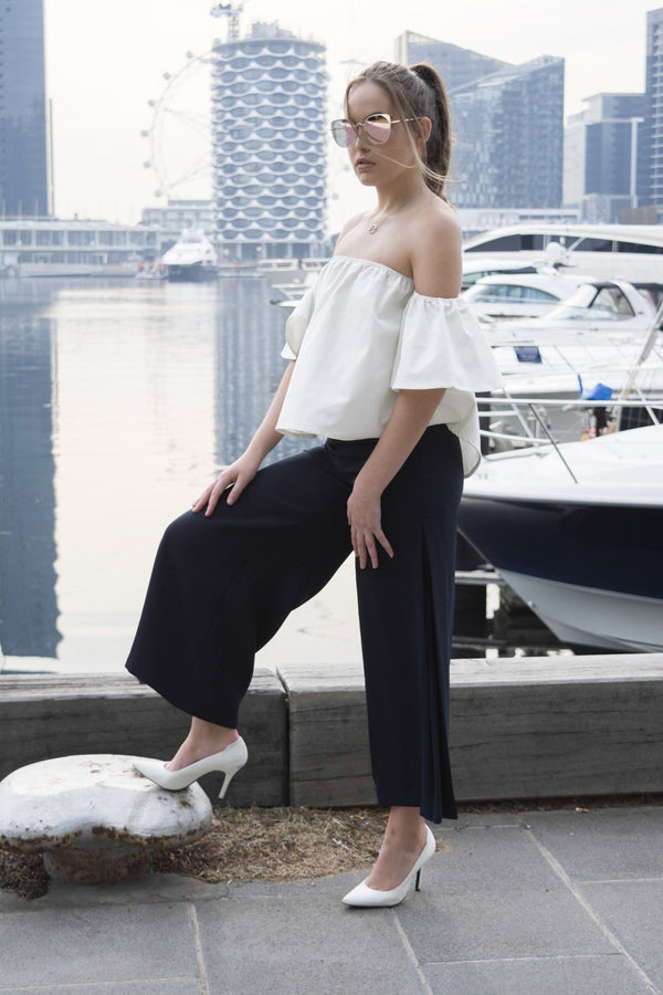 shop ethical sustainable & ethical clothing by MIN THE LABEL Classic Linen Cream Off Shoulder Top