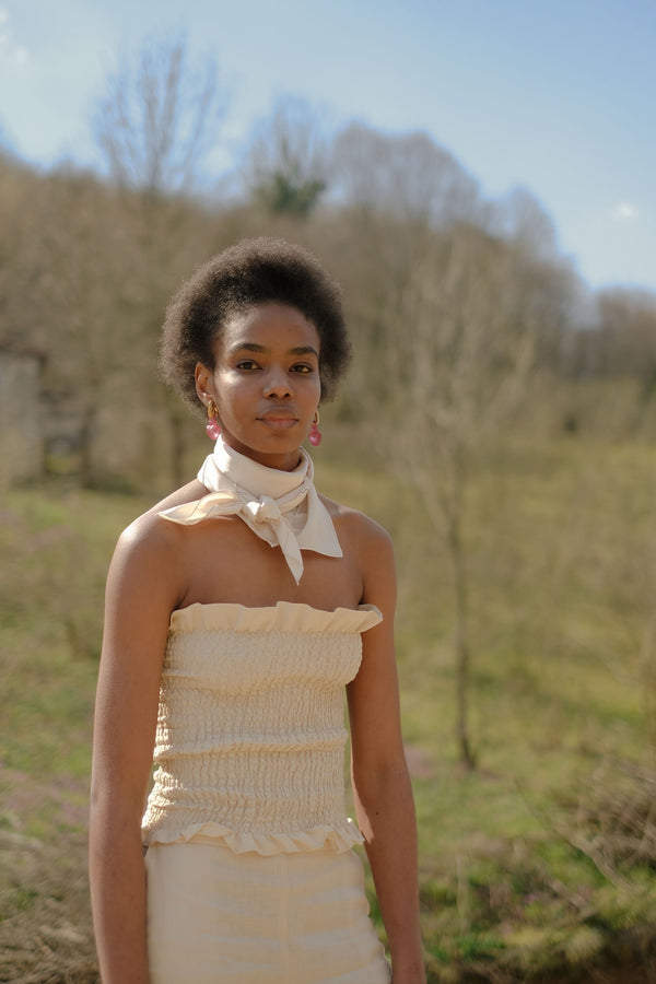 shop ethical sustainable & ethical clothing by OH SEVEN DAYS Saturday Scrunch Top Beige