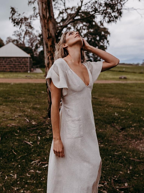 shop ethical sustainable & ethical clothing by Folktribe Clothing Signal Peak Gown - Sand