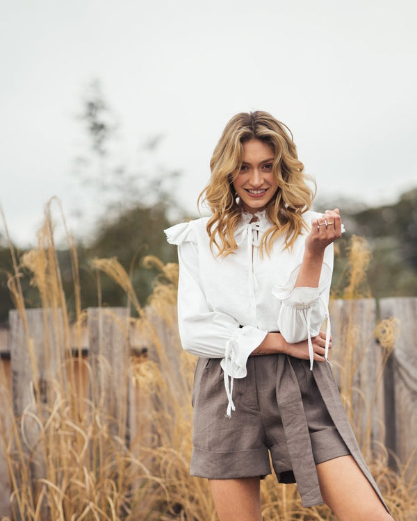 shop ethical sustainable & ethical clothing by Indecisive the label Linen Yayoi Shorts Hazelnut