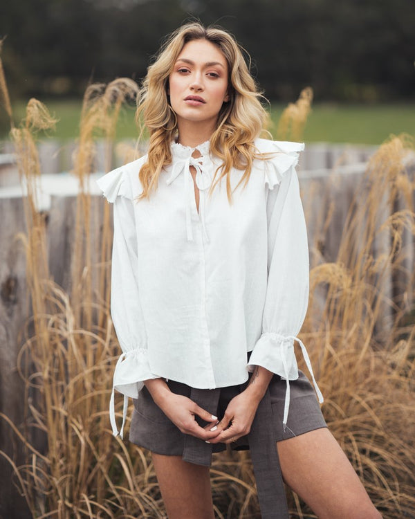 shop ethical sustainable & ethical clothing by Indecisive the label Linen Freda Blouse