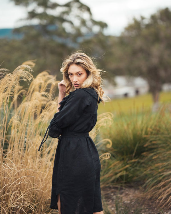 shop ethical sustainable & ethical clothing by Indecisive the label Linen Georgia Dress Black