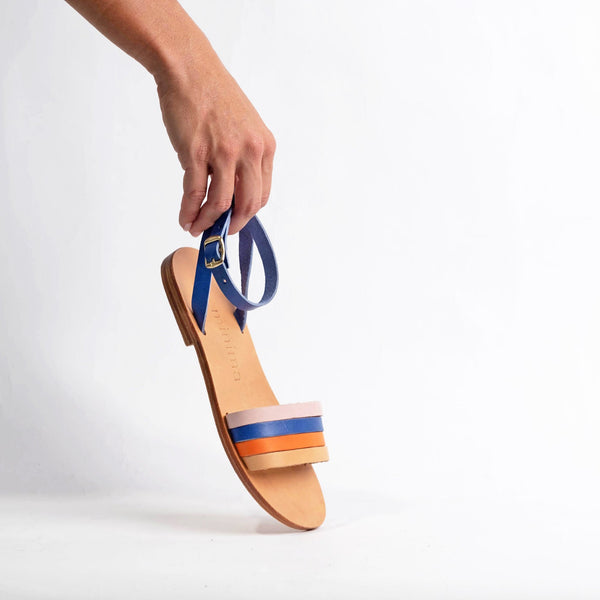 shop ethical sustainable & ethical clothing by Minima Handcrafted Giorgia Sandal Royal Blue