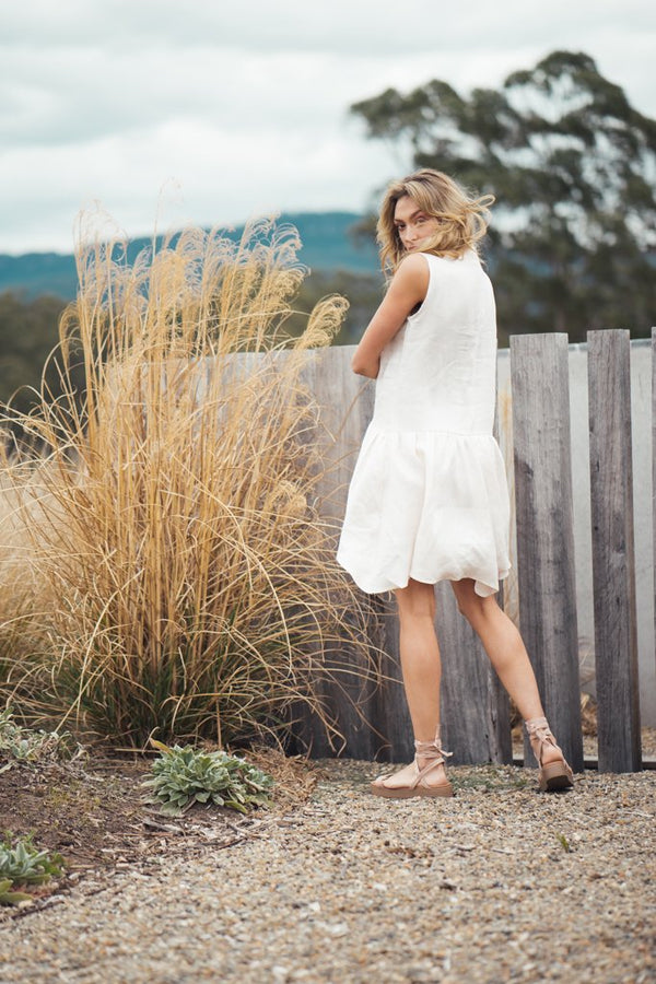 shop ethical sustainable & ethical clothing by Indecisive the label Linen Grace Dress Dusty Pink