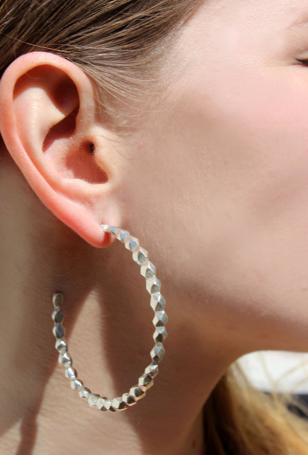 shop ethical sustainable & ethical clothing by EMBR jewellery Silver xxl oscillate hoops
