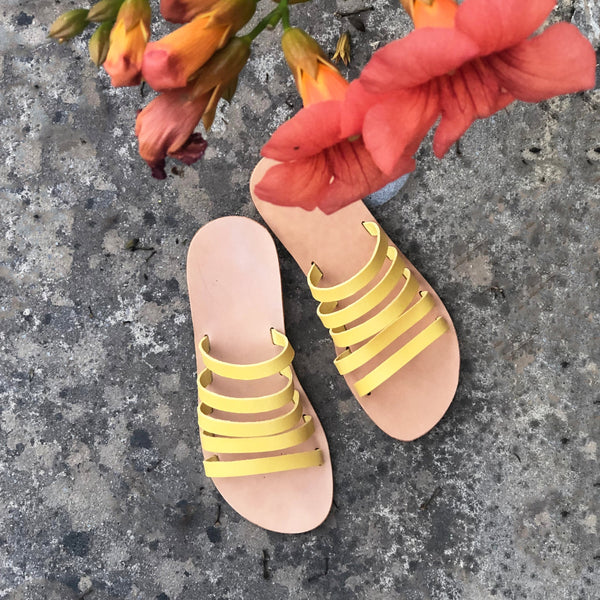 shop ethical sustainable & ethical clothing by Minima Handcrafted Jamie Slide Yellow