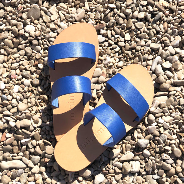 shop ethical sustainable & ethical clothing by Minima Handcrafted Kelly Slide Royal Blue