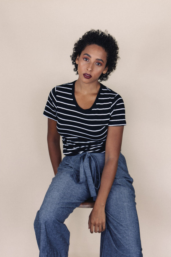 shop ethical sustainable & ethical clothing by UNCLE may CALI crew neck black/white striped top