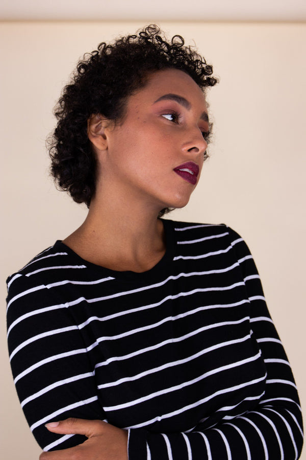 shop ethical sustainable & ethical clothing by UNCLE may LILLY long sleeve black/white striped top