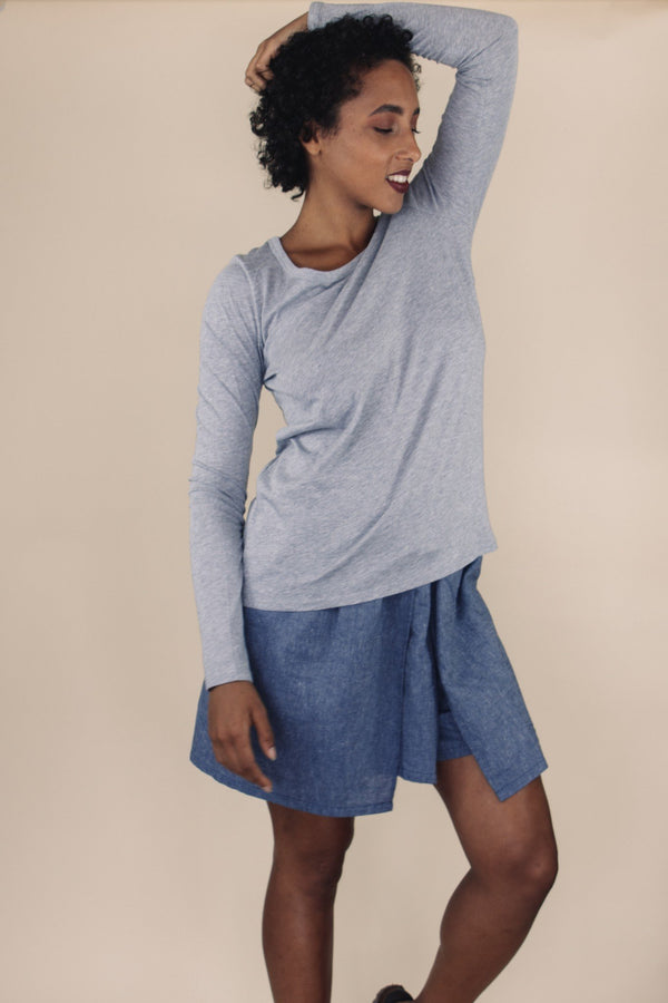 shop ethical sustainable & ethical clothing by UNCLE may MALI grey long sleeve scoop neck top