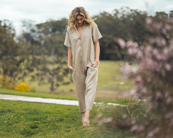 shop ethical sustainable & ethical clothing by Indecisive the label Linen Kahlo Jumpsuit