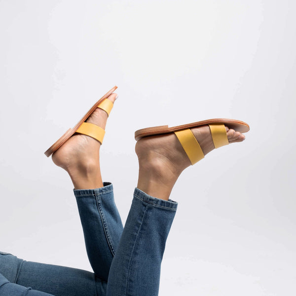 shop ethical sustainable & ethical clothing by Minima Handcrafted Kelly Slide Yellow