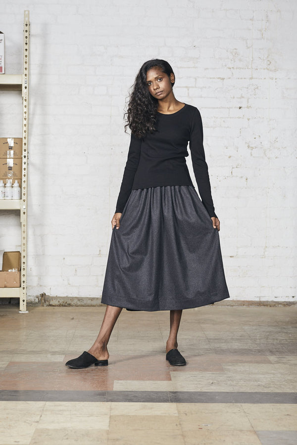 Pleat Skirt, Charcoal