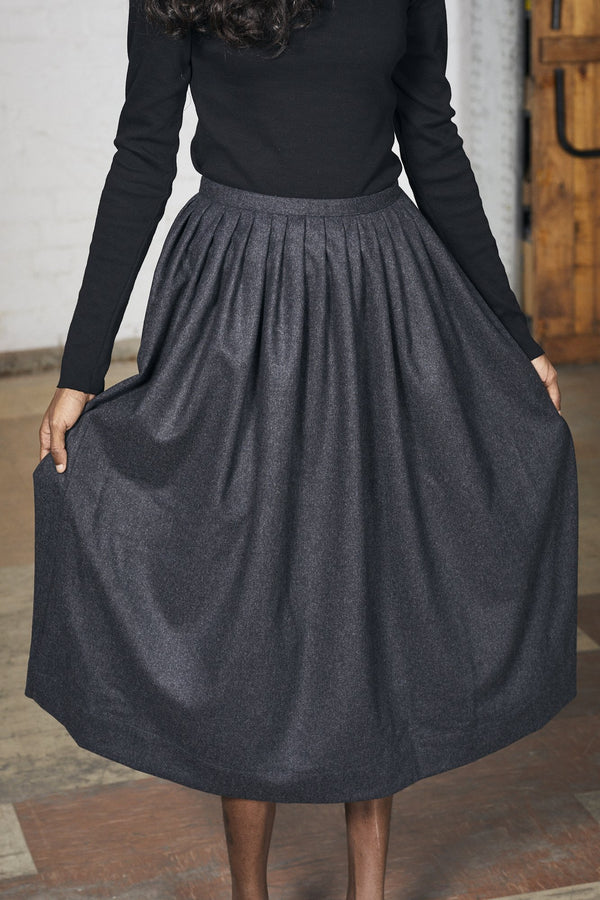 shop ethical sustainable & ethical clothing by Lois Hazel Pleat Skirt, Charcoal