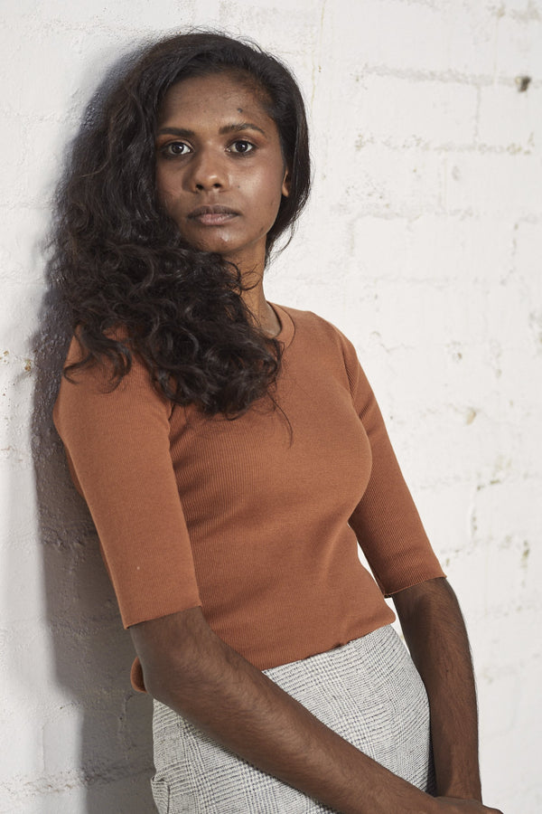 shop ethical sustainable & ethical clothing by Lois Hazel Rib Tee, Terracotta