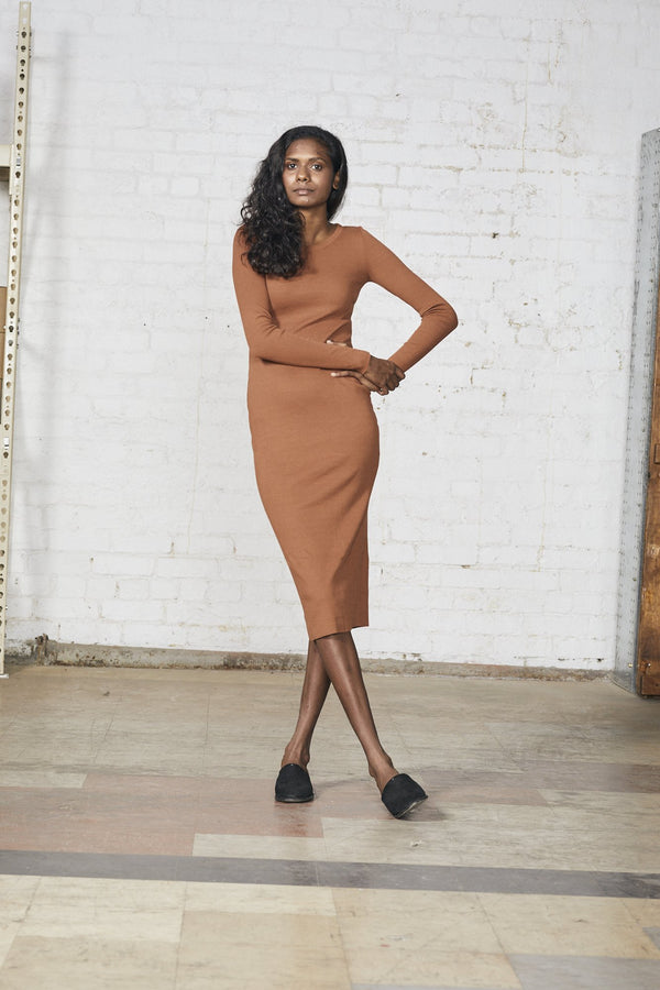 shop ethical sustainable & ethical clothing by Lois Hazel Rib Dress, Terracotta