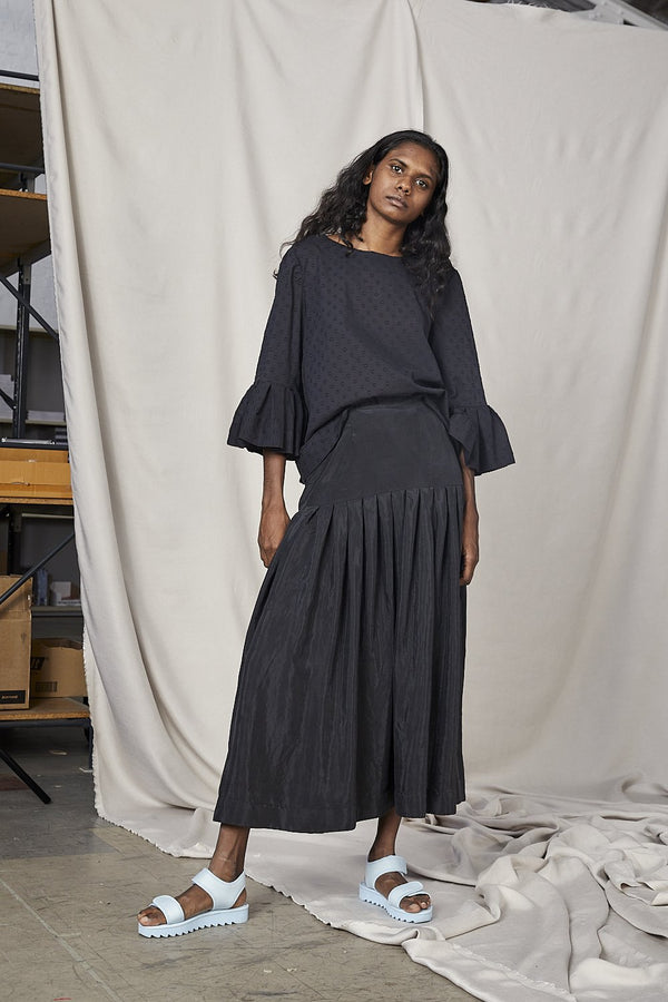 shop ethical sustainable & ethical clothing by Lois Hazel Fold Drop Skirt, Black