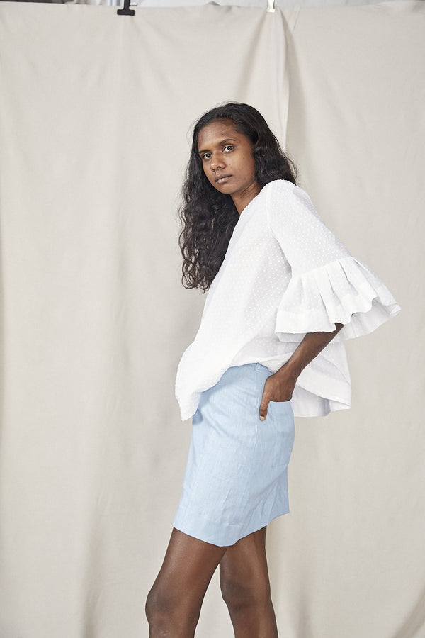 shop ethical sustainable & ethical clothing by Lois Hazel Smooth Skirt, Sky Blue