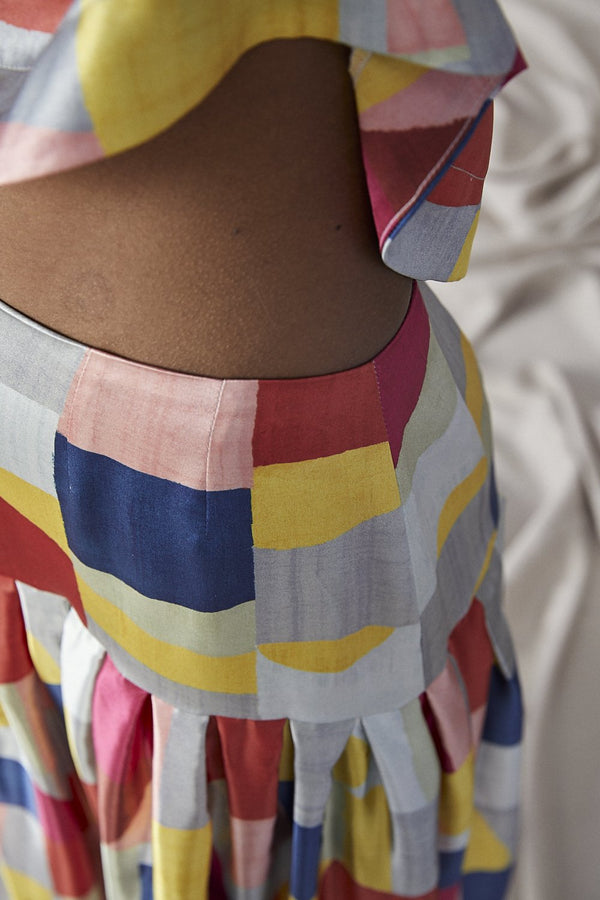 Fold Drop Skirt, Colourblock
