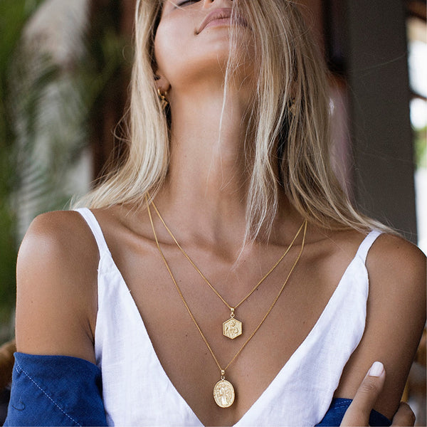 shop ethical sustainable & ethical clothing by La Luna Rose Jewellery St Raphael - Patron Saint of Happy Meetings, Doctors & Nurses - Gold