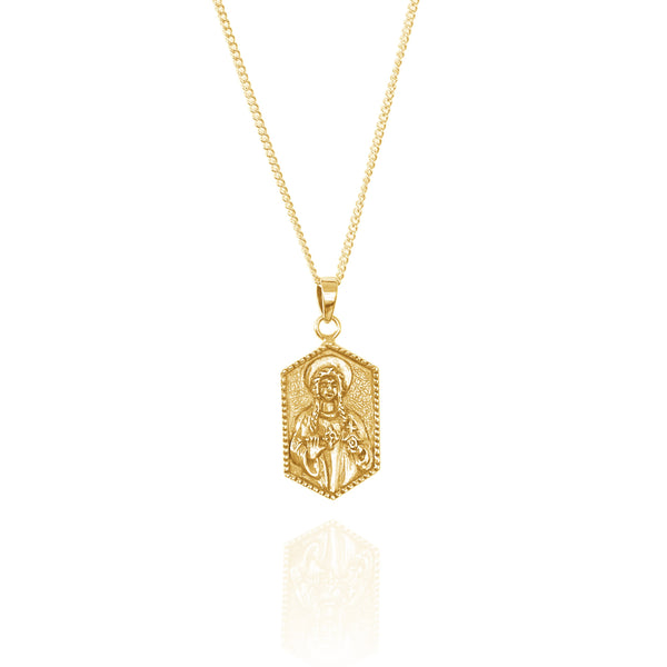 shop ethical sustainable & ethical clothing by La Luna Rose Jewellery St Dwynwen - Patron Saint of Lovers - Gold